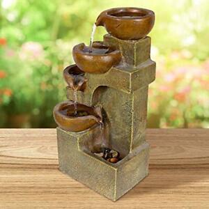 Garden Fountain Pots Cascade Waterfall Rock Outdoor Decor Patio Cascading Water