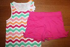 NWT Gymboree Hop & Roll Size 6 Knit Set Wavy Striped Tan Shirt Pink Shorts