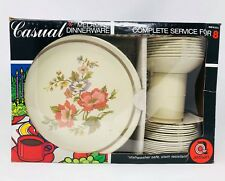 New In box, Vintage Artisan Cusual Melamine Dinnerware. Complete Service For 8.
