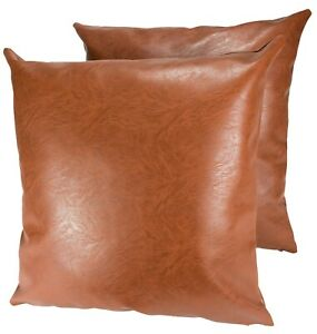 "Package of 2 Faux Leather Pillow Covers 18""x18"" Luxury Soft Thick Pillowcases"