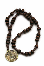 Small St Michael Chaplet Wooden Catholic Rosary Women Children Brown Beads Cord