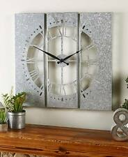 Country Galvanized Wall Clock Vintage Farmhouse Old Fashion Panels Wall Clock