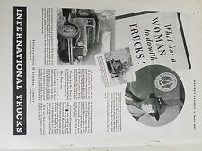 1937 International Harvester Co Payne Truck What Has Woman to do w Trucks Ad