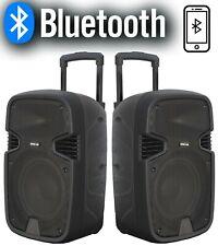 "🇮🇹 COPPIA CASSE AMPLIFICATE ATTIVE 900W 10"" BLUETOOTH FM USB TROLLEY karaoke"