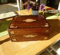 Gorgeous & Quality 19th Century Rosewood Box with Brass and Abalone Shell Inlay