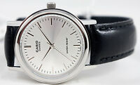 Casio MTP1095E-7A Mens Silver Analog Watch Quartz Black Leather Band New