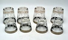 Set of 8 Dorothy Thorpe Silver Platinum Band Etched Lines Barware Glasses 3&6 oz