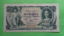 Czechoslovakia 100 Korun Paper Money Banknotes