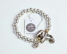 BIBI Bijoux Elefante & Cristallo Swarovski Stretch Perline Bracciale con Charm Argento