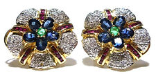 "DESIGNER ""SD"" 14K GOLD TWO TONE EMERALD RUBY SAPPHIRE & DIAMOND EARRINGS 7/8"""