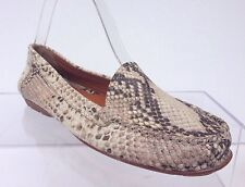 Geox Respira Women's Brown Beige Leather Flats Loafers Driving Shoes EU 38