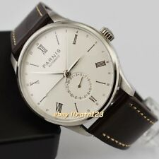 PARNIS Brown Leather Strap White Dial GMT SEAGULL AUTOMATIC Movement Men's Watch