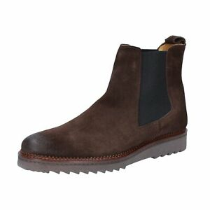 BZ141 SALVO BARONE  Shoes Men Brown Suede Ankle boots Round Toe No Boot Casual F