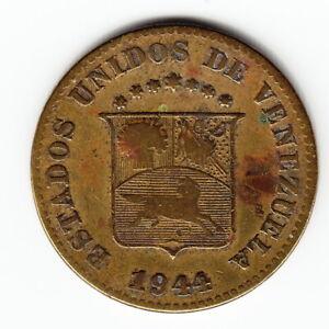 VENEZUELA 5 centimos 1944 Y29 Brass WWII 1-year type Denver Mint Average RARE !