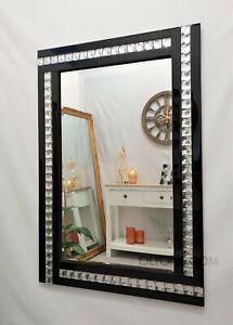 NEW Modern Art Deco Acrylic Crystal Glass Design Bevelled Mirror 120x80cm Black