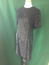 Stenay Vintage Full Beaded Sequin Dress Black Short Sleeve Size 6 Cocktail LBD