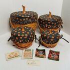 Longaberger Pumpkin Baskets+Fabric Lids+Prot.-Complete Set-Retired HALLOWEEN EUC