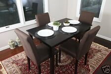 5pc Espresso Dining Room Kitchen Set Table 4 Brown Fabric Parson Chairs 5 piece