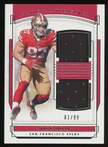 2019 Panini National Treasures Nick Bosa 49ers Dual Jersey 81/99