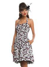 Skull & Roses Dress, Floral Skull Dress, Skull Summer Dress, Skull Halter Dress