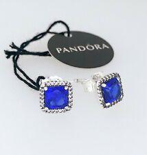New Authentic PANDORA Pave Blue Square Sparkle  Halo Stud Earrings 290591NBT