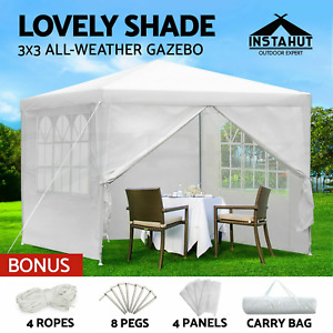 Gazebo 3x3m Outdoor Marquee Side Wall Party Wedding Tent Camping White - NEW