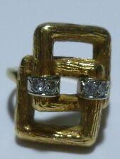 MID CENTURY STYLE DESIGNER 18K GOLD MODERN DIAMOND WOMENS RING BAND GEOMETRIC