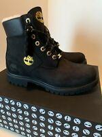 "Timberland 6"" Premium Waterproof Warm Lined Black Nubuck Boots A2957-Sz 8.5 Men"
