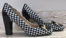 """Tahari 8M Pumps Shoes Houndstooth Check Fabric & Leather Black & White 3.5"""" Lucy"""