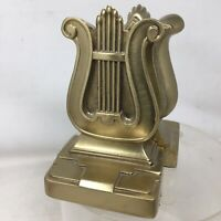 "Vintage Cast Brass Art Deco Harp Lyre  Bookends PMC 56B Mid Century 5.5"""