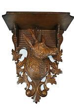 Antique Black Forest Wall Console or Bracket Shelf / Chamois / Goat / Antelope.