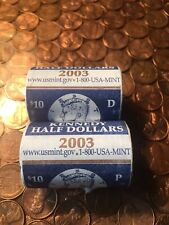 2003 P and D Mints Kennedy UNC Half Dollar Mint Wrapped Rolls 50c US 40 Coins