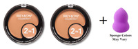 Revlon ColorStay 2-in-1 Compact, True Beige (2 Pack) + Makeup Sponge