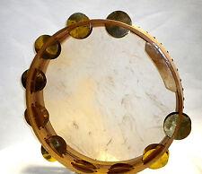 "Giant Tambourine Goat Skin Head Large Brass Cymbals Brazillian Frame Drum 16"""