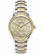 Burberry Mens The Classic Round Gold Dial Two-Tone Stainless Steel Watch BU10011