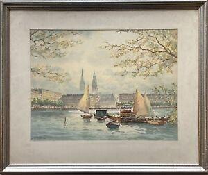 Segler auf der Altser Hamburg Johannes Harders (1871-1950) 52,5 x 62,5 cm