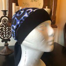 Schampa Skull Cap, Head Wrap, Do Rag, Coll Black with Blue Flames