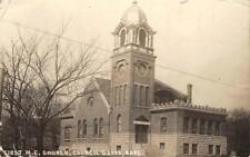 RPPC First M.E. Church, Council Grove, Kansas 1914 Vintage Real Photo Postcard