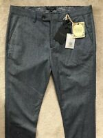 "TED BAKER NAVY BLUE ""CLASSY"" CLASSIC FIT TROUSERS PANTS CHINOS - 34R - NEW TAGS"