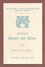 Menu, Bridge Hotel, Bedford,  Sharnbrook & North Beds. Operatic, 1956   RK 224