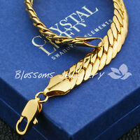 SOLID 9K 9ct Yellow GOLD GF Open LINK WIDE CHAIN BRACELET Mens WOMENS S739 GIFT
