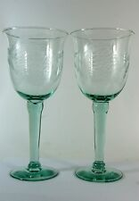 Christmas Wine Glasses Etched Hand Blown 22 Ounces Set of 2