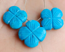 Stabilized Turquoise Hand Carved Flower Briolette Beads Set