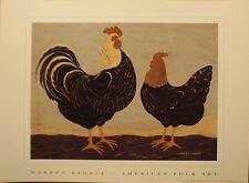 art print~DOUBLE ROOSTERS~Warren Kimble~bird chicken farm animal~folk 16x12