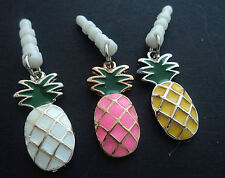 1 X WHITE,YELLOW OR PINK PINEAPPLE ANTI DUST EARPHONE PLUG CHARM  IPHONE'S ECT!!