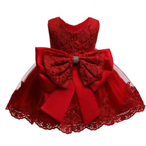 Baby Girl Dress Princess Lace Bow Tutu Gown 1 To 5 Years Birthday Party Wear