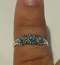 Adorable vintage turquoise sterling silver ring sz 3.25