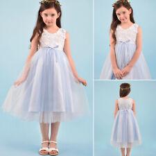 Kids Flower Girls Wedding Dress Birthday Dress Evening Dress up Size 4 - 10 Blue