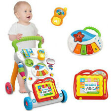 Sit-to-Stand Learning Walker Developmental Baby Toy with Music & Drawing board