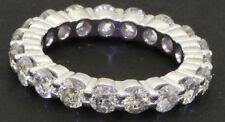 Platinum high fashion 3.30CT diamond shared prong eternity band ring size 6.5